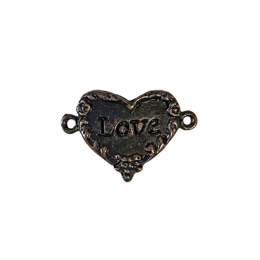 rusted iron, love inscription, love heart, 0911, heart connector, vintage, B'sue by 1928, lead free pewter castings, cast pewter jewelry findings, made in the USA, flower charm, Triple flower charm, heart charm, 1928 Company, B'sue Boutiques