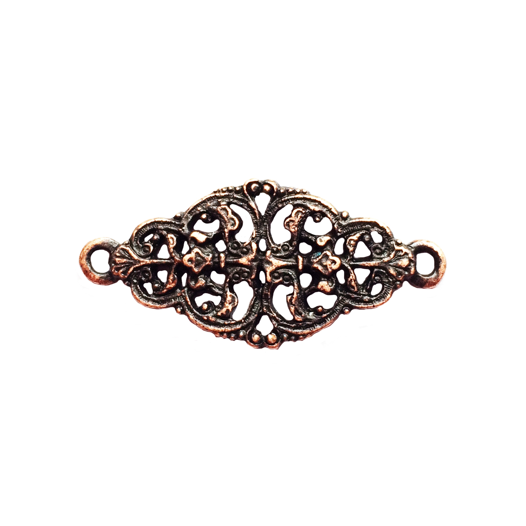 rusted iron, filigree connector, bracelet bar, 0919, bracelet connector, vintage, B'sue by 1928, lead free pewter castings, cast pewter jewelry findings, made in the USA, 1928 Company, B'sue Boutiques