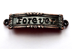 rusted iron, forever inscription, bracelet bar, 0920, forever connector, vintage, B'sue by 1928, lead free pewter castings, cast pewter jewelry findings, made in the USA, 1928 Company, B'sue Boutiques