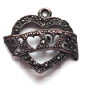 rusted iron, love banner, love heart, 0924, vintage, B'sue by 1928, lead free pewter castings, cast pewter jewelry findings, made in the USA, flower charm, Triple flower charm, heart charm, 1928 Company, B'sue Boutiques,