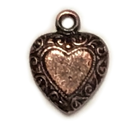 vintage pewter castings, B'sue by 1928, heart charms, bracelet making, rusted iron, nickel free, lead free pewter, rusted iron, us made, designer jewelry, vintage supplies, 1928 jewelry, B'sue Boutiques, 14x11mm, heart, charm, pewter, iron, 0934