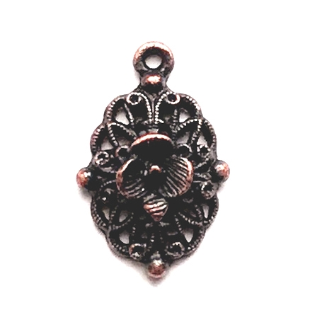 filigree flower charm, filigree, rusted iron, lead free, pewter castings, cast pewter jewelry parts, vintage, 1928 Jewelry, B'sue Boutiques, B'sue by 1928, vintage charms, vintage jewelry findings,antique copper, pewter jewelry findings, us made, 0943