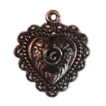 rusted iron pewter, rose heart pendant, 0948, heart charm, vintage, B'sue by 1928, lead free pewter castings, cast pewter jewelry findings, made in the USA, flower charm, antique copper, heart charm, 1928 Company, B'sue Boutiques