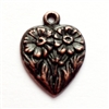 rusted iron pewter, daisy heart charms, 0949, heart charm, vintage, B'sue by 1928, lead free pewter castings, cast pewter jewelry findings, made in the USA, flower charm, heart charm, 1928 Company, B'sue Boutiques