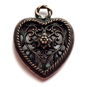 rusted iron pewter, nickel free, filigree hearts, 0953, lead free, pewter castings, cast pewter jewelry parts, vintage, 1928 Jewelry, B'sue Boutiques, B'sue by 1928, vintage charms, vintage jewelry findings, pewter, pewter jewelry findings,made in the USA