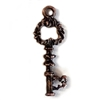 vintage pewter castings, B'sue by 1928, key charm, rusted iron pewter, nickel free, lead free pewter, vintage castings, pewter keys, us made, designer jewelry, vintage jewelry supplies, steampunk art, 1928 Jewelry, B'sue Boutiques, 23x8mm, key, 0954