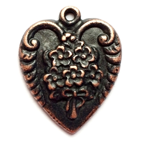 rusted iron pewter, floral bouquet pendant, 0956, heart charm, vintage, B'sue by 1928, lead free pewter castings, cast pewter jewelry findings, made in the USA, flower charm, heart charm, 1928 Company, B'sue Boutiques