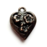 vintage pewter castings, B'sue by 1928, floral heart charms, 09778, bracelet making, rusted iron, nickel free finish, lead free pewter, rusty iron, made in the USA, designer jewelry, vintage jewelry supplies,1928 Jewelry, B'sue Boutique