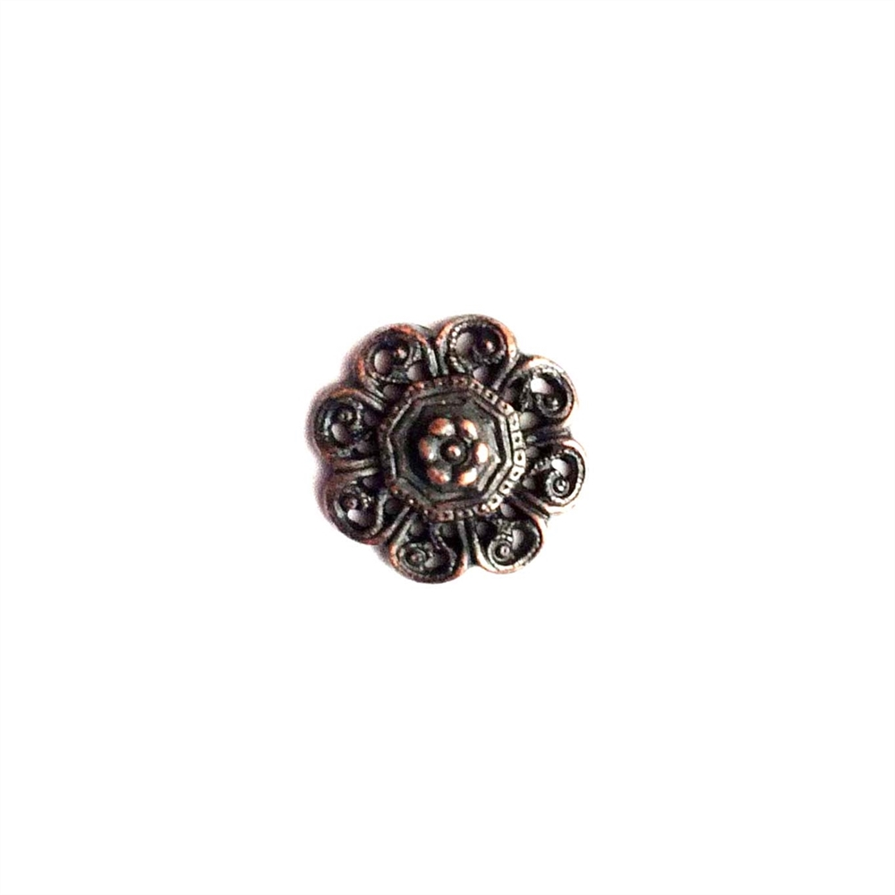 vintage pewter castings, B'sue by 1928, 09787,filigree flower, rusted iron, nickel free finish, lead free pewter,  rusty iron, made in the USA,  designer jewelry, vintage jewelry supplies, 1928 Jewelry, pewter jewelry parts,B'sue Boutique