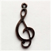 vintage pewter castings, B'sue by 1928, treble clef, music charms, 09789, rusted iron, nickel free finish, lead free pewter, rusty iron, made in the USA, designer jewelry, vintage jewelry supplies,1928 Jewelry, B'sue Boutique