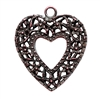 rusted iron, nickel free, heart pendant, 09987, lead free, pewter castings, cast pewter jewelry parts, vintage, 1928 Jewelry, B'sue Boutiques, B'sue by 1928, vintage charms, vintage jewelry findings, pewter, pewter jewelry findings,made in the USA