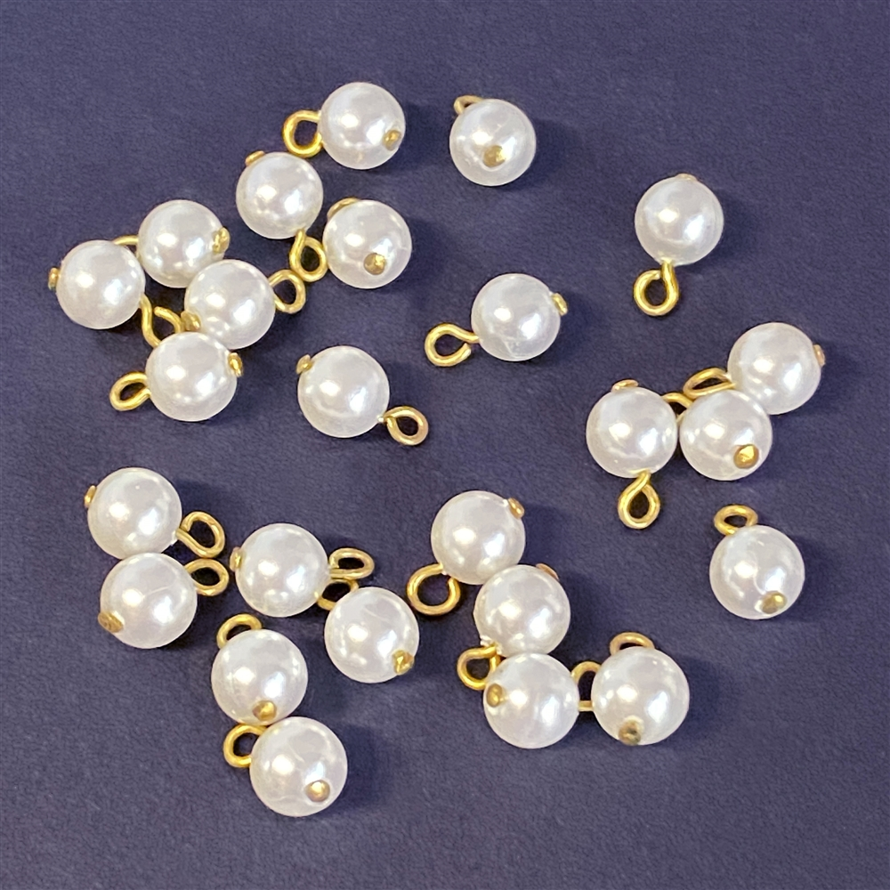 glass pearl drops, faux pearls, 6mm, 02130, jewelry supplies, jewelry making supplies, vintage jewelry supplies, glass pearls, pearl findings, b'sueboutiques, pearls on headpins, 6mm pearls, beading supplies, pearl charms, embellishments