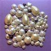 vintage assorted pearl cabs, simulated pearls, cabochons, pearls, flat back, modacrylic, 60's era, round, oval, heart, teardrop, white, cream, domed up, buttons, textured, cabs, vintage, assorted shapes and sizes, B'sue Boutiques, 03302
