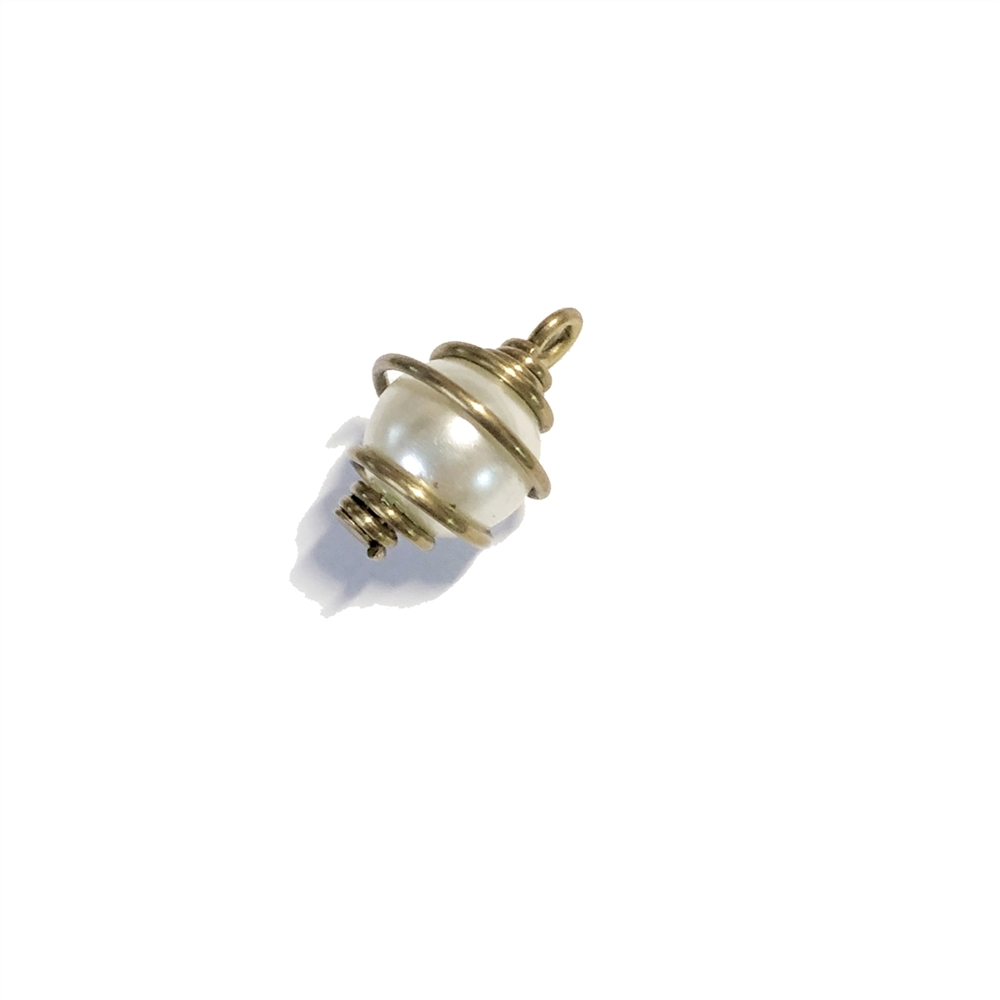 Small, Caged, Imitation Pearl, 8mm