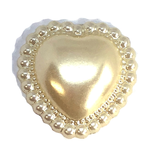 Pearl Heart Cabochon, Lustrous Cream, 20x20mm, 07494, vintage jewelry supplies, jewelry making supplies, pearl cabs, flat back cabochons, heart cabs, beaded border, vintage supplies, vintage jewelry making