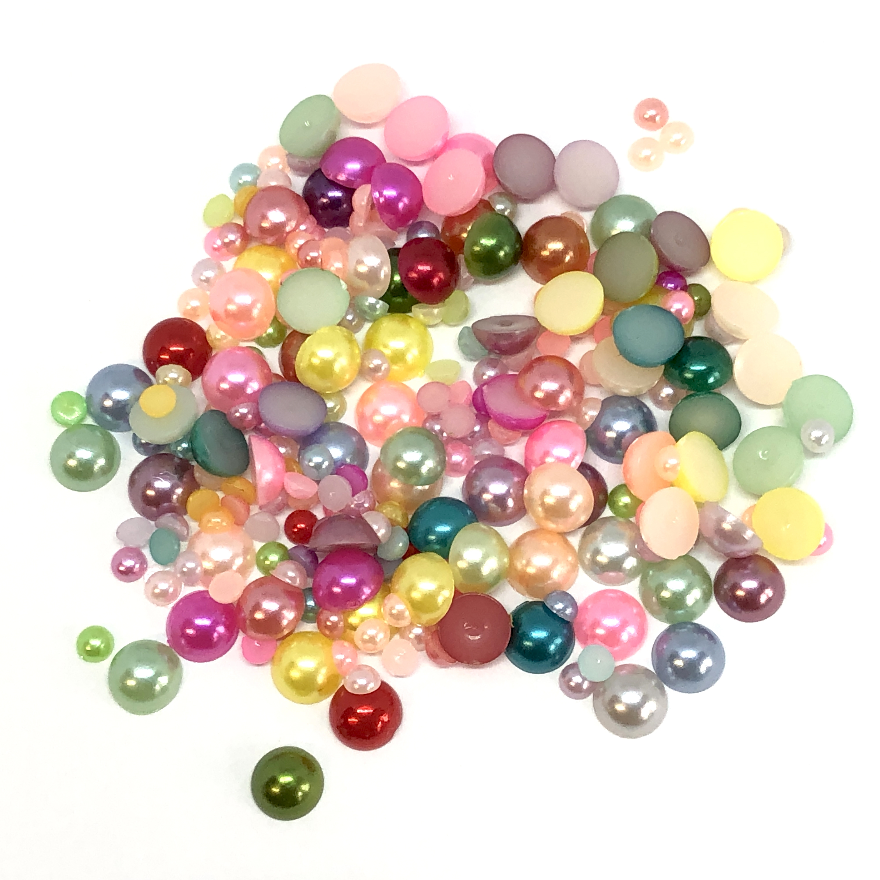 pearl cabochons, mixed,  flat backs, ab, 09213, pearls, no hole pearls, flat backs, mixed colors, mixed sizes,  bsueboutiques, jewelry making supplies, vintage jewelry supplies, spring colors, flat back pearls, warm cream pearls,