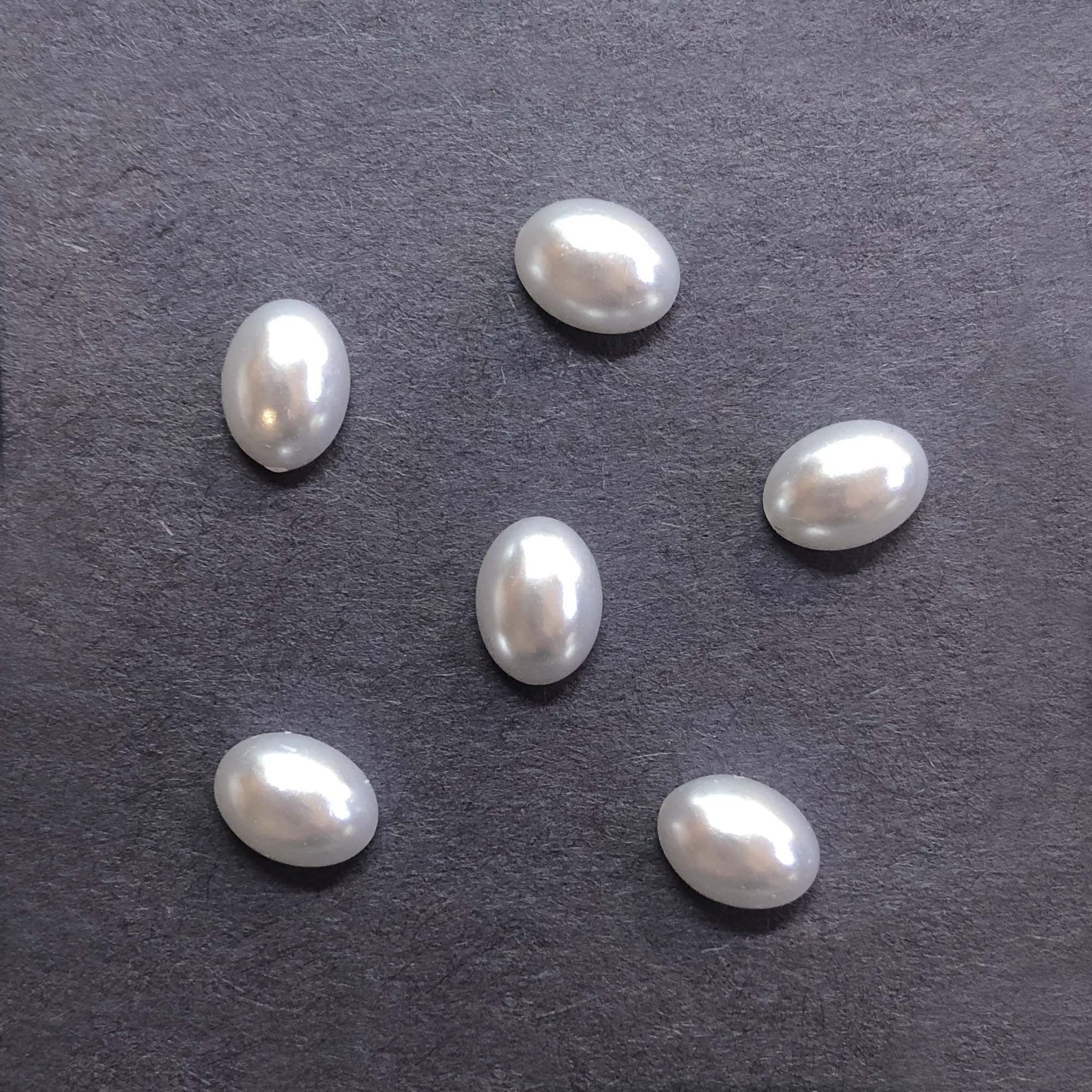 pearl cabochons, snow white cabs, 09776, vintage jewelry supplies, jewelry making supplies, 8 x 6mm cabs, pearl cabs, flat back cabochons, white cabochons, pearls, white pearls