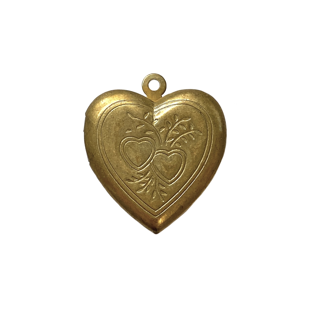 vintage heart locket, double heart pattern, locket, heart locket, raw brass, charm, pendant, patina brass, vintage locket, 26x24mm, jewelry locket, jewelry making, vintage supplies, jewelry supplies, B'sue Boutiques, heart pattern locket, 01855