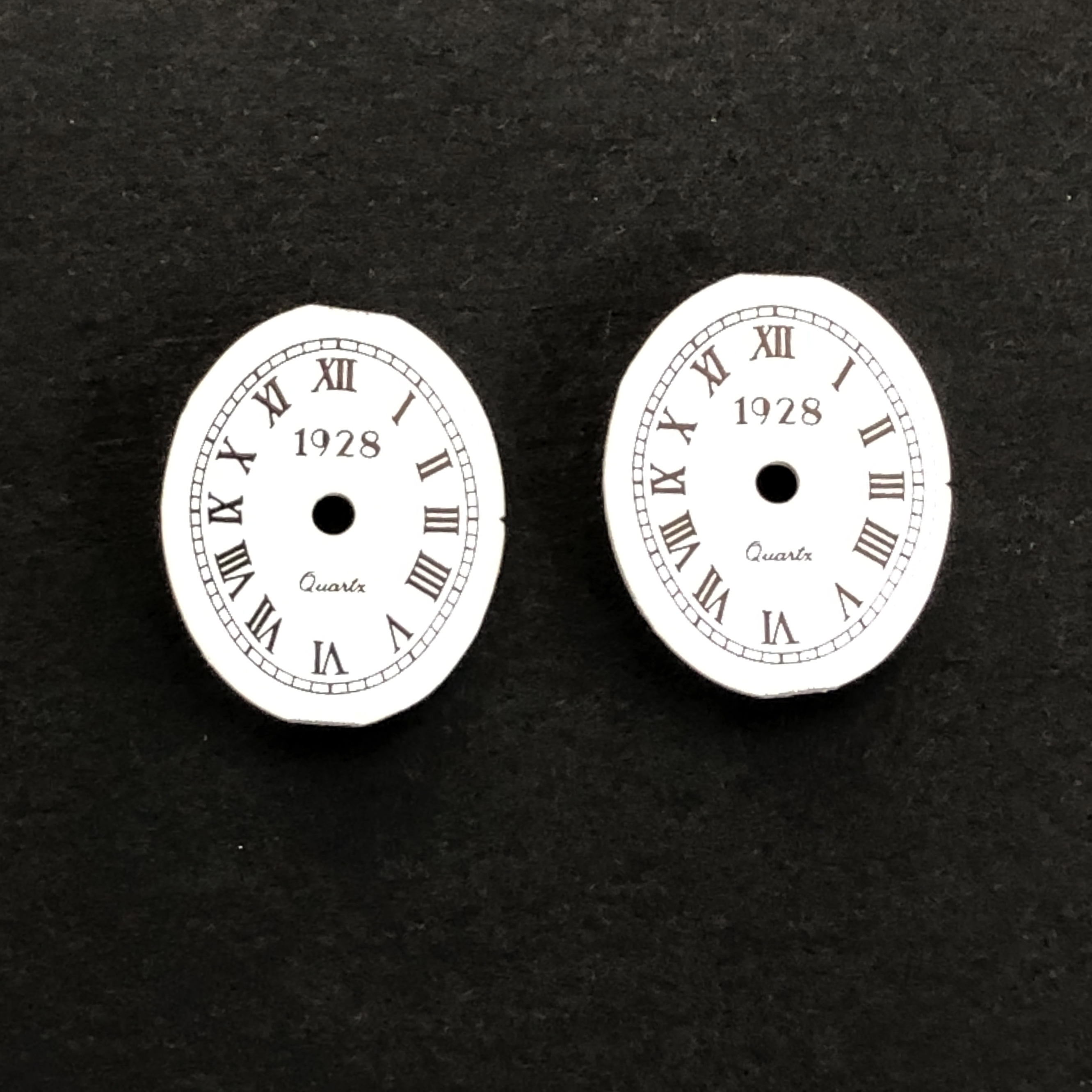 1928 clock faces, jewelry making, 16x13mm, 02140, watch parts, vintage jewelry supplies, metal watch parts, jewelry making supplies, Bsue Boutiques, Roman numeral numbers,