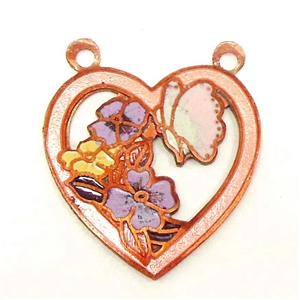 brass hearts, enameled hearts, jewelry supplies