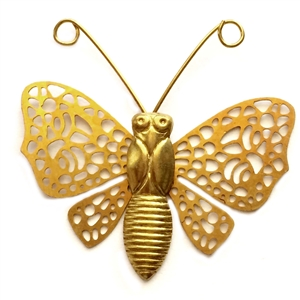 Vintage Brass Butterflies, Riveted Butterflies, Vintage Jewelry Supplies, Old Gold Plate, 33 x 32mm,