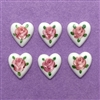 porcelain heart cameos, Limoges, 03889, B'sue Boutiques, vintage jewelry supplies, flat back heart cameos, jewelry making, hand-painted, vintage cameos, White hearts, pink roses