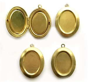 Vintage Lockets, 4 Piece, Pendant, Bezel Lockets, Patina Brass, 25x20mm