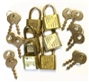 Vintage Locks & Keys, 6 Sets, 12 Piece, Keys, Locks, Vintage Brass, Two Tone, Vintage Jewelry Supplies, 33 x 20mm