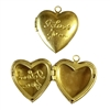 Vintage Heart Lockets, I Love You, Locket, Patina Brass, Heart, Vintage Brass, 23 x 25mm