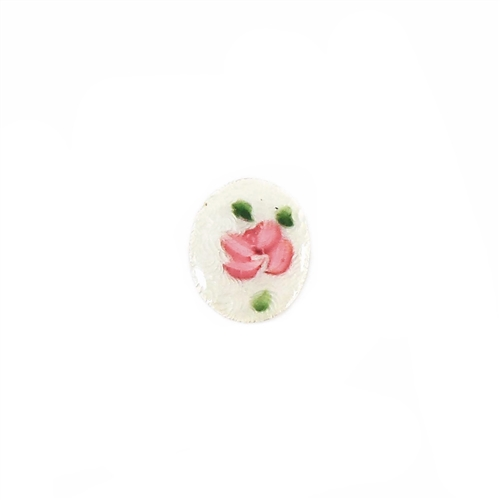 rare dresden enamel ovals, hand painted pink flowers over white, vintage dresden, enamels, rose pink enamels, pink, cameos, green accent leafs, 10x8mm, us made, nickel free, B'sue Boutiques, jewelry making, vintage supplies, jewelry findings, 06165