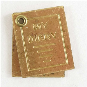 vintage brass diary, diary charms, raw brass