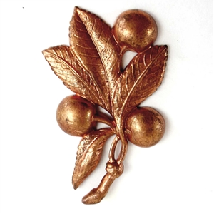 vintage French leaves, leaf and berries, patina