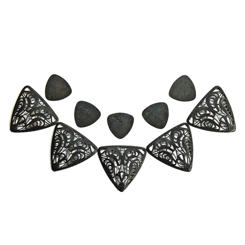 triangle filigree & guitar pick kit, collar filigree, triangular filigree, matte black, ebony brass, blank, guitar pick, matte black brass, filigree, brass stamping, kit, 22-38mm, jewelry making, jewelry supplies, vintage supplies, B'sue Boutiques, 06630