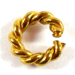 vintage brass jump rings, rope style, 9mm