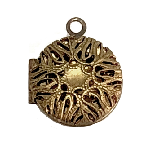 vintage perfume locket, pendant locket, patina, 06881, filigree locket, jewelry making supplies, perfume locket, 13mm lockets, vintage jewelry supplies, vintage jewelry, vintage lockets, patina brass