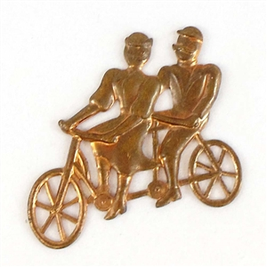 bicycle built for two, patina brass, 06991,  brass bicycles, patina brass, gingerbread brass, jewelry supplies, vintage jewelry supplies, jewelry making, couple stampings, double seated bicycle,
