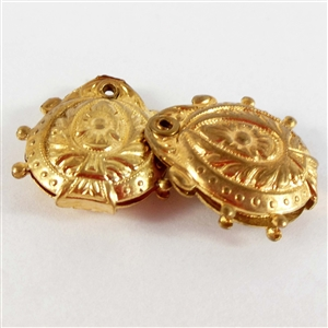 vintage puffy charms, two sided charms, patina, 06992, B'sue Boutiques, nickel free, riveted charms, Victorian style charms, raw brass stampings, vintage brass parts, vintage jewelry parts, vintage brass stampings, vintage jewelry making supplies,