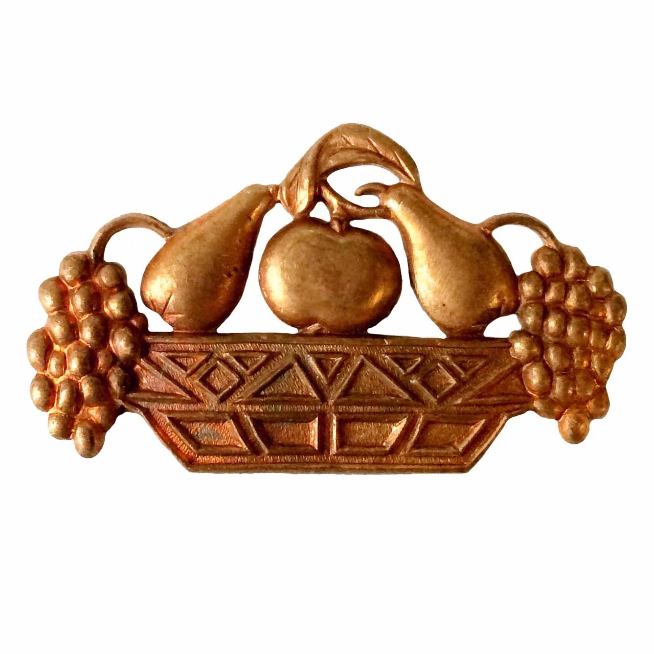 vintage fruit basket, art deco basket, 08777, B'sue Boutiques, nickel free jewelry supplies, vintage jewelry supplies, patina brass, gingerbread brass, brass jewelry parts
