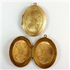 brass lockets, vintage lockets, patina, 08820, 64 x 48mm, B'sue Boutiques, vintage jewelry supplies, brass jewelry parts, floral lockets, locket pendants,