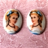 cameo, French cameo, porcelain, lady,  18 x 13mm, vintage jewelry supplies, glass cameos, multi-faceted cameos, Victorian lady cameos, jewelry making