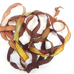 gypsy ribbon, dark, accent ribbon, ribbon, dark gypsy ribbon, multi-color, colorful, ribbon jewelry, browns, golds, moss, rust, yellow, copper, one color bleeds into another, tie-dye, lace, vintage, necklace ribbon, B'sue Boutiques, 03283