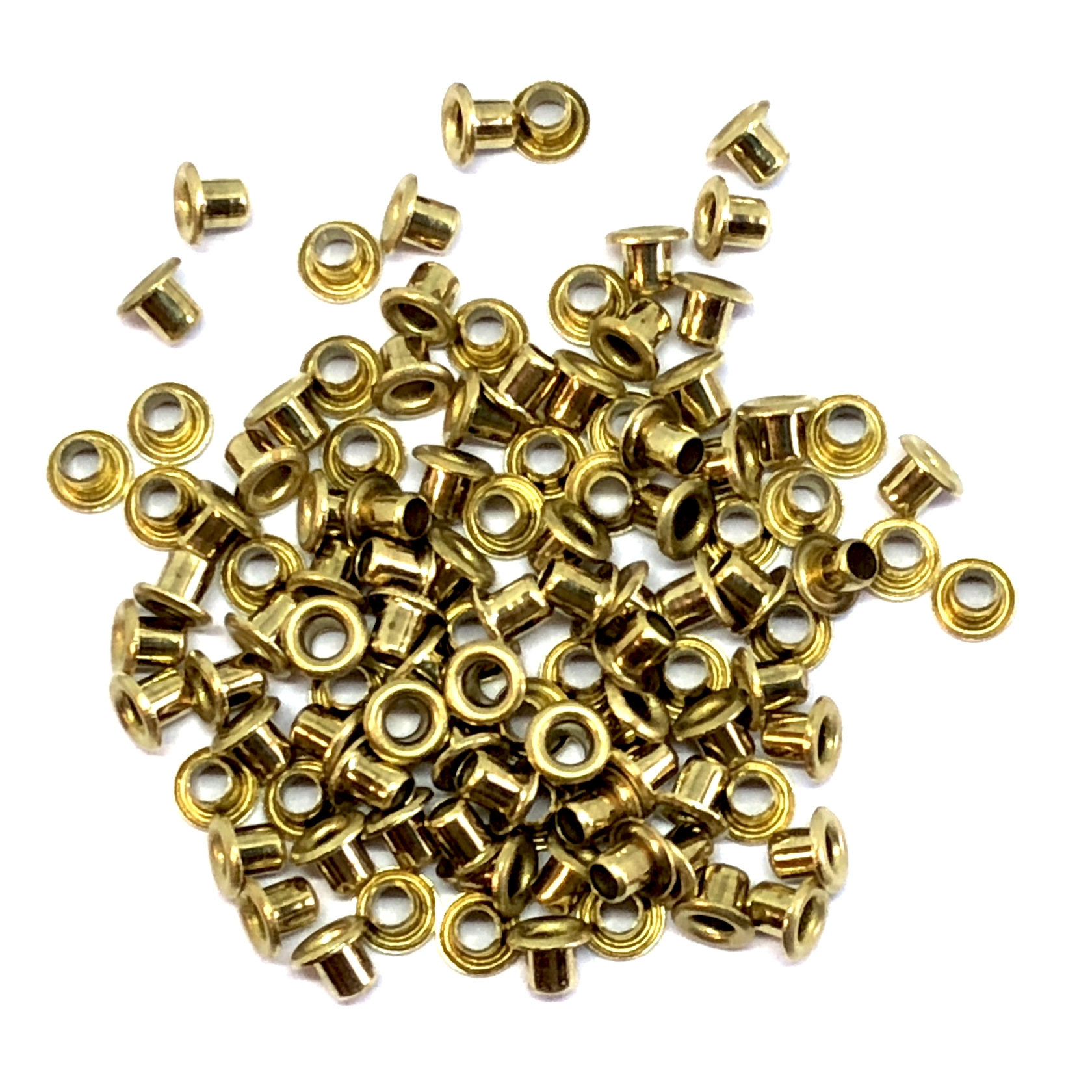 eyelet rivets, 3/32 rivets, brass rivets, 08503, 3/32 diameter eyelets, 3/32 length rivets, jewelry making supplies, vintage jewelry supplies, jewelry findings, brass jewelry parts, bsueboutiques, raw brass