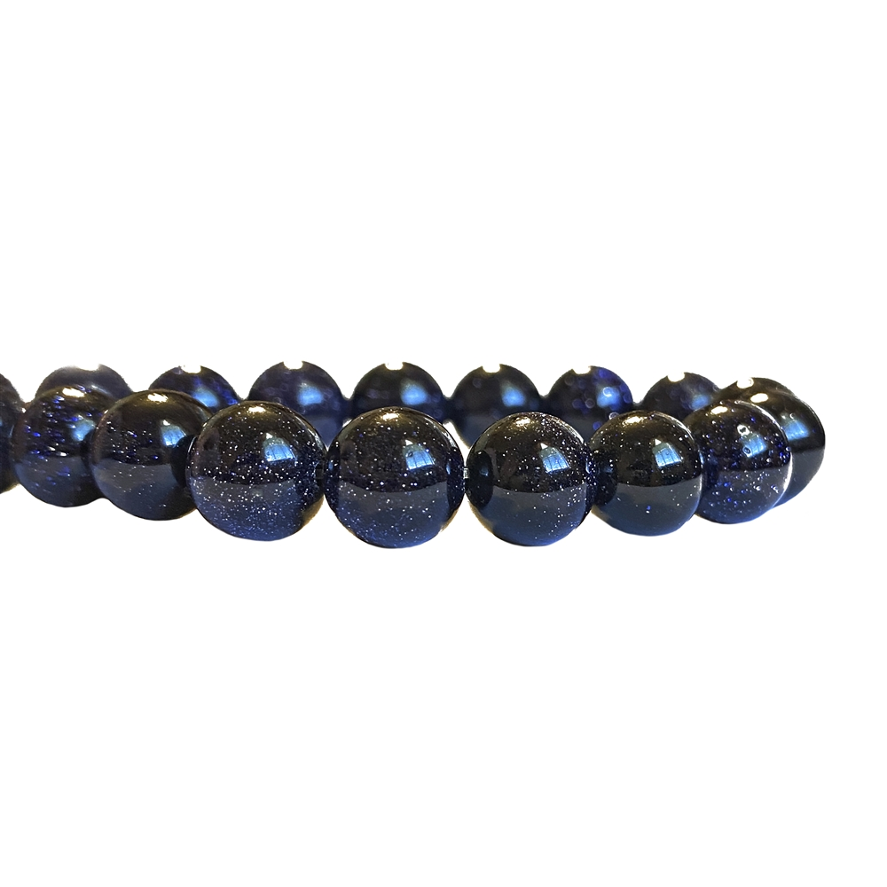 semi-precious beads, blue goldstone beads, 8mm round beads, blue goldstone, midnight goldstone beads, round stone, natural stone beads, semi-precious, bead stone, B'sue Boutiques, beads, beads with gold flakes, sparkling beads, 8mm, 02489, 2.5mm hole