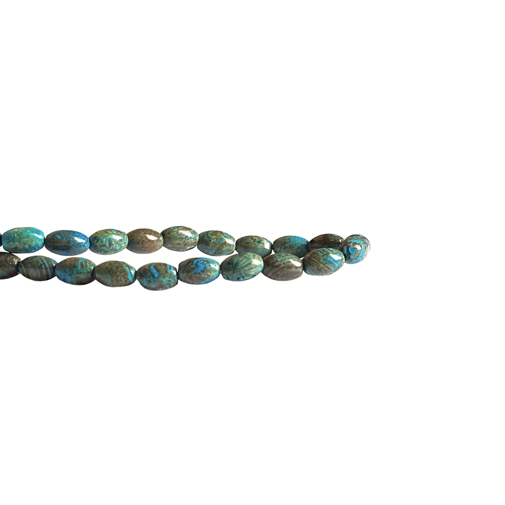 turquoise calsilica jasper rice beads, semi precious beads, 5x8mm, green bead, blue, turquoise, jasper beads, beads, rice beads, semi precious, rice stone bead, US-made, B'sue Boutiques, jewelry bead, jewelry making, shiny gloss, calsilica beads, 02528