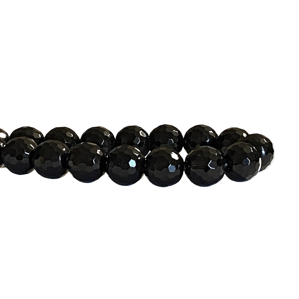 faceted onyx black beads, faceted round beads, faceted beads, jewelry beads, onyx, onyx beads, natural beads, 10mm, beads, semi-precious beads, stone beads, jewelry making, jewelry supplies, vintage supplies, B'sue, designer beads, black beads, 02860