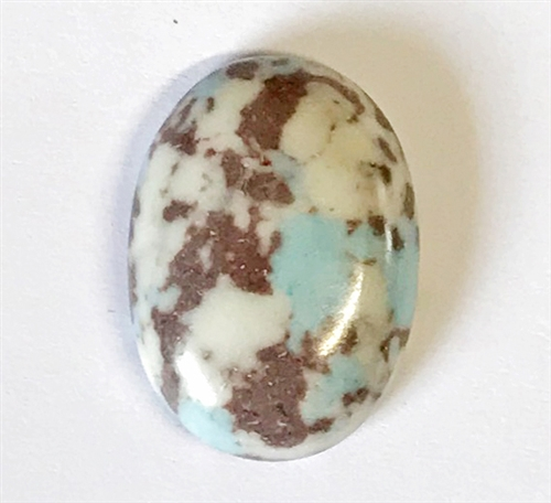 dyed howlite, crushed stone material blended with resin, semi precious stones, chocolate stones, ivory with turquoise, flat back cabochons, cab stones, semi precious, 25x18mm, brown, turquoise, ivory semi stones, B'sue Boutiques, B'sue by 1928, 03312
