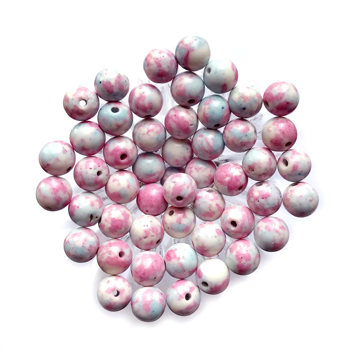 Semi Precious Stone Beads Synthetic Impression Mixed Stones Pink