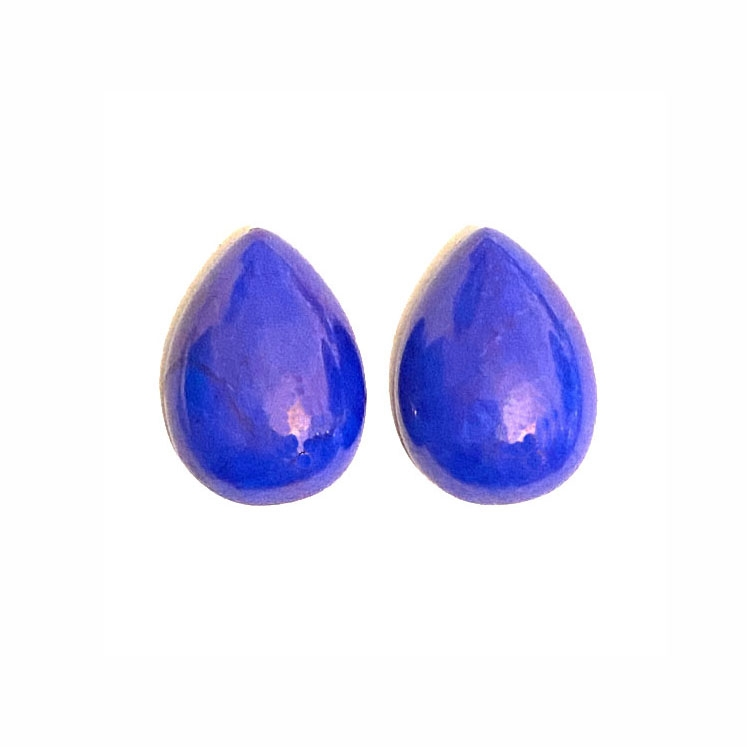 dyed howlite, howlite cabochons, semi precious stones, blue stones, lapis blue, semi precious howlite stones, lapis howlite cabochons, blue cabochon, B'sue Boutiques, flat back cabochons, flat back, tear drops, 18 x 13mm, set of 2, pair, 03769