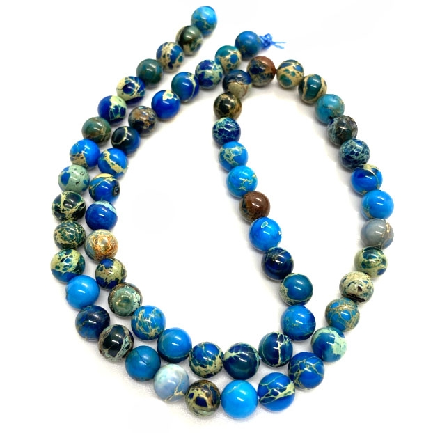 pacific blue jasper stone beads, smooth round beads, blue, jasper, natural stones, semi-precious stones, gemstones, semi precious stones, stone supplies, jewelry making, vintage supplies, jewelry supplies, 6mm, 03790