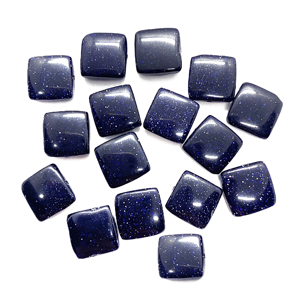 Gemstone Beads, blue goldstone, square, 04211, 12mm beads, goldstone, semi precious beads, B'sue Boutiques, beading supplies, smooth beads, rounded square